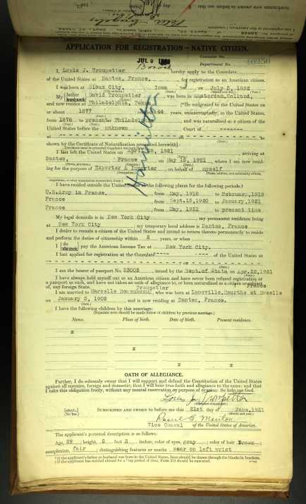 Louis' US Consular Registration Application
