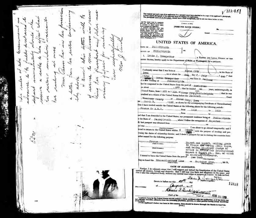 Louis' US Passport Application